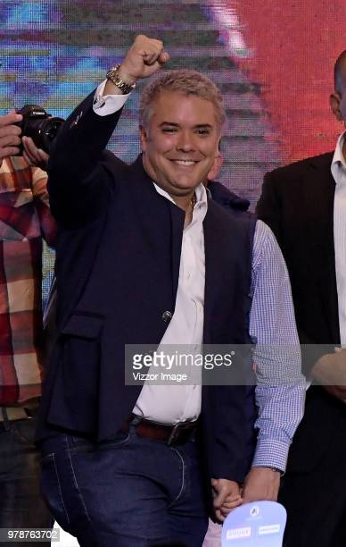 Elected President of Colombia Ivan Duque celebrates after winning the presidential ballotage against leftist Gustavo Petro on June 17 2018 in Bogota...