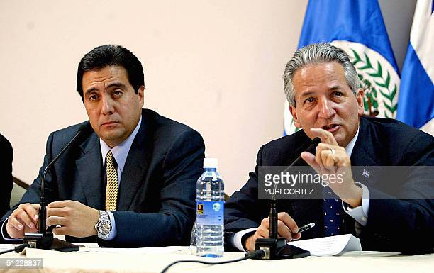 Elected President of Panama Martin Torrijos and Ricardo Maduro President of Honduras speak during a press conference 27 August 2004 at the El...