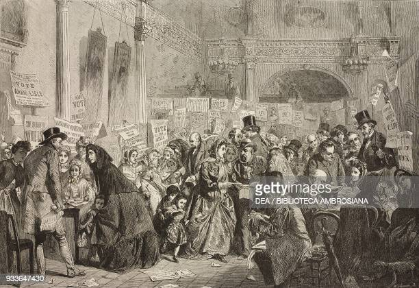 Election at the London Tavern Polling engraving from the painting by George Elgar Hicks illustration from the magazine The Illustrated London News...