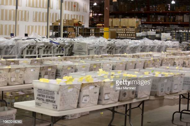 Election ballot trays at the Supervisor of Elections Service Center on November 15 2018 in Palm Beach Florida After ballotcounting machines...