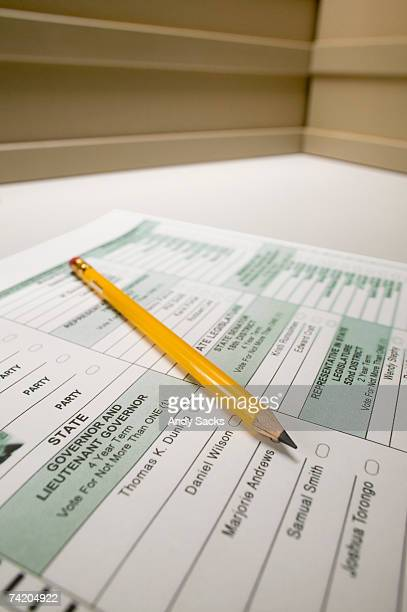 election ballot with pencil, close-up - ballot slip stock pictures, royalty-free photos & images