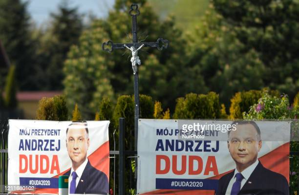 Election banners with an image of Andrzej Duda, the current President of Poland, seen outside Krakow. The Presidential Election is scheduled to be...