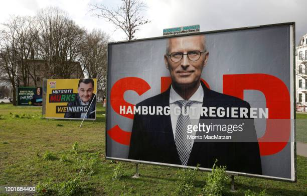 Election campaign billboards of Katharina Fegebank, lead candidate of the German Greens Party, Marcus Weinberg, lead candidate of the German...