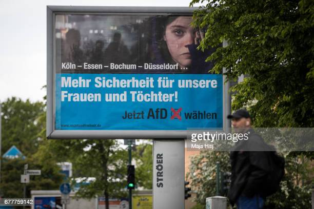 Election campaign billboards of the Alternative for Germany Party is seen ahead of state elections in North RhineWestphalia on May 3 2017 in...