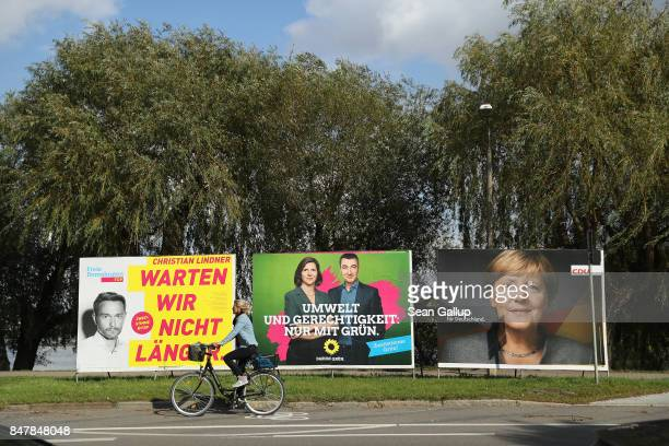 Election campaign billboards that show Christian Linder leadcandidate of the Free Democratic Party colead candidates Cem Oezdemir and Katrin...