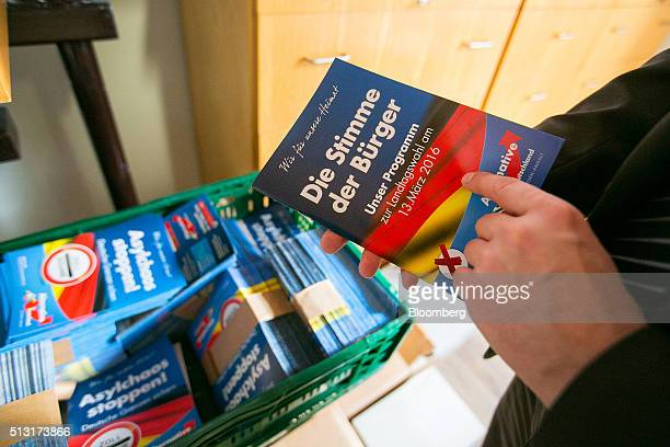 Election campaign leaflets sit displayed inside the Alternative for Germany party's campaign office in Magdeburg SaxonyAnhalt state Germany on Monday...