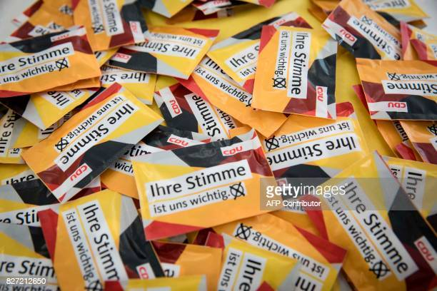 Election campaign material of Germany's conservaive Christian Democratic Union party is seen at the CDU's headquarters in Berlin where the party...