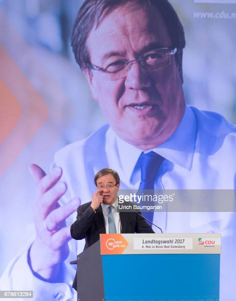 Election campaign of the CDU for the regional elections in North RhineWestphalia Armin Laschet CDU Party Chairman in NRW during his speech In the...
