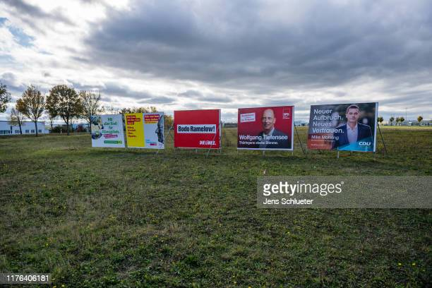 Election campaign posters for Buendnis 90 / Die Gruenen for the Free Democratic Party for the leftwing Die Linke party for the Germany's Social...