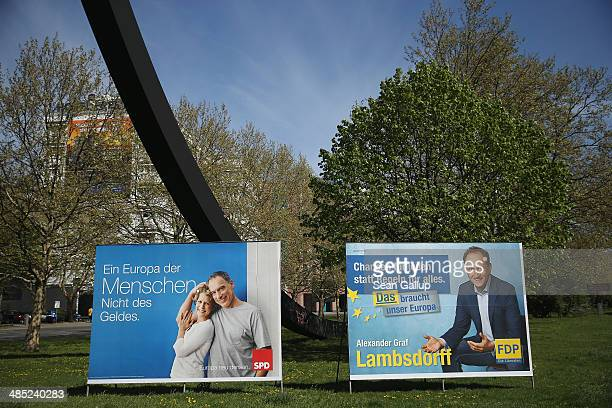 Election campaign posters for European Union parliamentary elections stand on April 17 2014 in Berlin Germany All 28 European Union member states...
