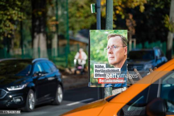 Election campaign posters for the leftwing Die Linke party hang from lampposts prior to state elections in Thuringia on October 17 2019 in Camburg...