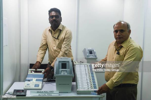 Election commission demonstrating the working of Electronic Voting Machines and Voter Verifiable Paper Audit Trail System while brushing aside the...