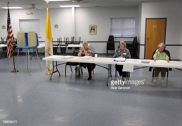 Election Commission Employees Lynda Elliott Dorothy Hickman and Marjorie Kelly wait for voters in Mary's Hall at St Anne's Catholic Church on Super...