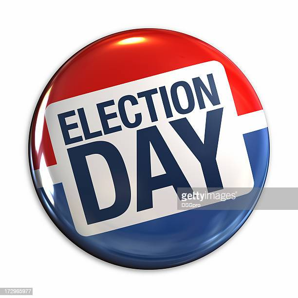 election day badge in red, white & blue - election stock pictures, royalty-free photos & images