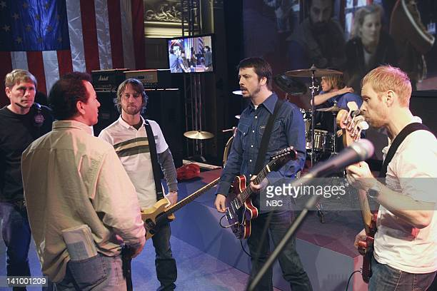WING Election Day Episode 16 Aired 4/2/06 Pictured Crew members Foo Fighters guitarist Chris Shiflett singer Dave Grohl bassist Nate Mendel Photo by...