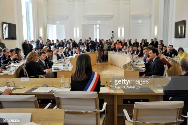 Election de Johanna Rolland maire de la ville de Nantes par les élus du conseil municipal réunis en assemblée à l'hôtel de ville, le 4 Avril, 2014 à...
