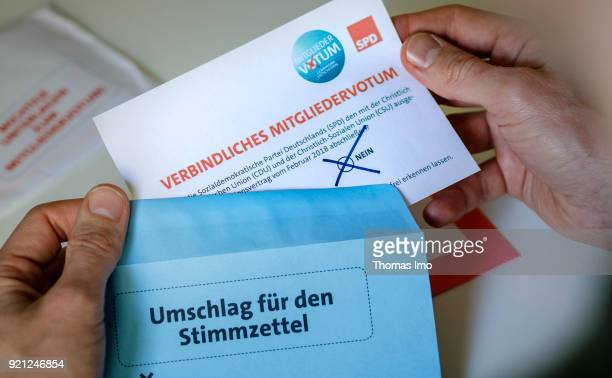 Election documents for the member vote or Mitgliedervotum of the SPD party members on February 20 2018 in Berlin Germany All members of German Social...