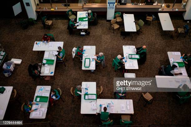 Election judges verify and count ballots at the Denver Elections Division building on election day on November 3, 2020 in Denver, Colorado. - The...