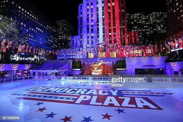 Election Night 2016 -- Pictured: Democracy Plaza on Tuesday, November 8, 2016 from New York --