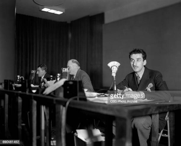 Election night coverage and election returns at CBS Radio Studio One at 485 Madison Avenue New York NY CBS News reporter Robert Trout and CBS Radio...