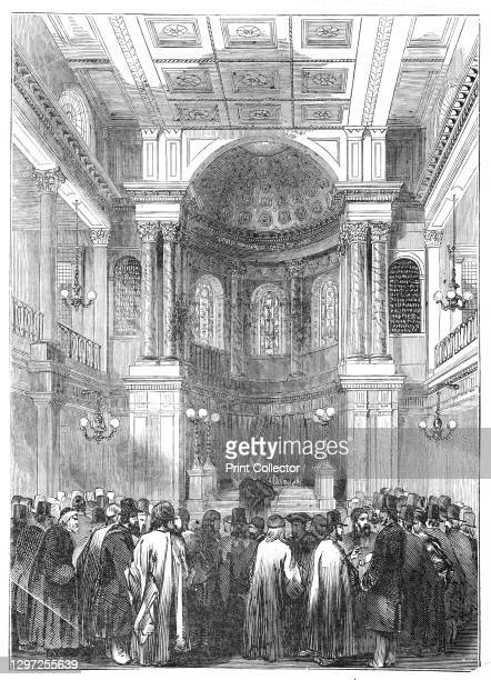 Election of Rabbi, at the Synagogue, Great St. Helen's, 1844. Scene at Bishopsgate Street, City of London, when the Reverend Doctor Nathan Marcus...
