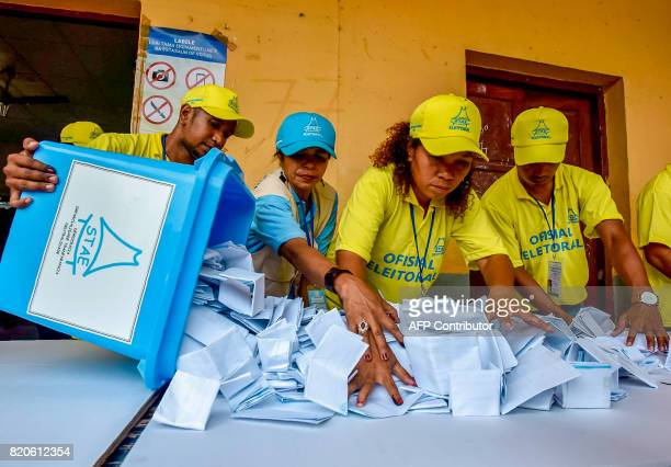 Election officials open a ballot box during counting for the parliamentary election in Dili on July 22 2017 East Timor went to the polls on July 22...