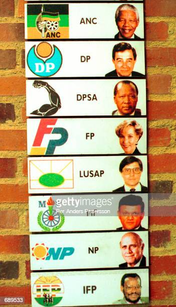 Election parties in the first Democratic election in 1994 is on display at the newly opened Apartheid Museum December 19, 2001 in Johannesburg, South...
