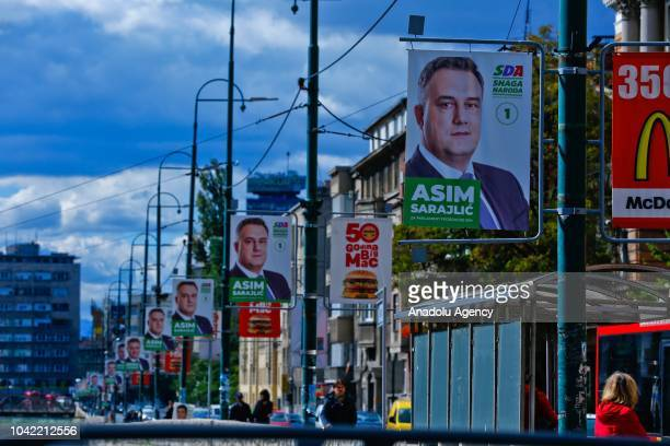 Election posters are hanged ahead of the Bosnian general elections which will be the 8th election after the Dayton Peace Agreement and organized on...