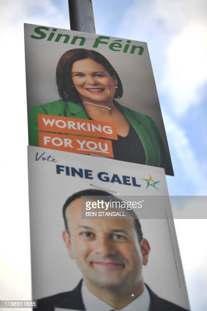 Election posters featuring Sinn Fein President Mary Lou McDonald and Ireland's Prime minister and Fine Gael leader Leo Varadkar are pictured on...
