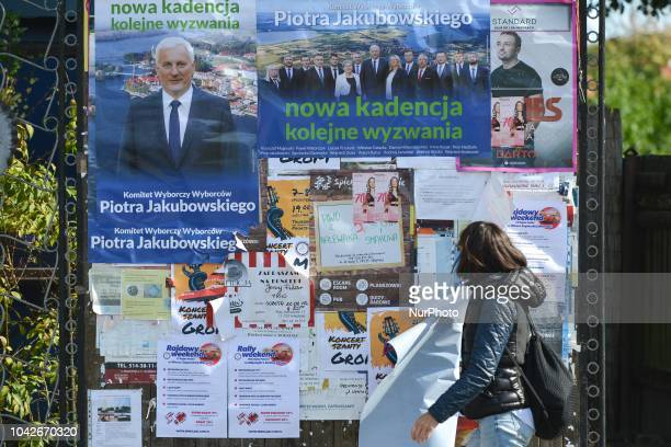 Election posters of Piotr Jakubowski actual mayor of Mikolajki since 2001 who is the candidate for another term in the upcoming local elections 2018...