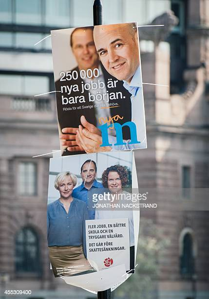 Election posters of Swedish Prime Minister and leader of the Moderate Party in Sweden Fredrik Reinfeldt and of the opposition Social Democratic party...