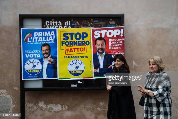 Election posters of the League party on May 31, 2019 in Aversa, Italy. Interior Minister Matteo Salvini, after winning the European elections...