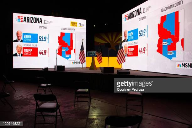 Election results from MSNBC are shown during Democratic U.S. Senate candidate Mark Kelly's Election Night event at Hotel Congress on November 3, 2020...