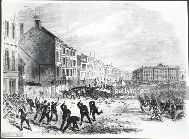 Election Riot Great MarketPlace at Nottingham Illustrated London News 8th Jul 1865 Nottingham