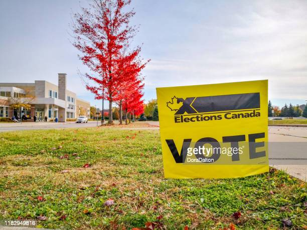 election sign at polling station of woodbridge, ontario, canada - election stock pictures, royalty-free photos & images