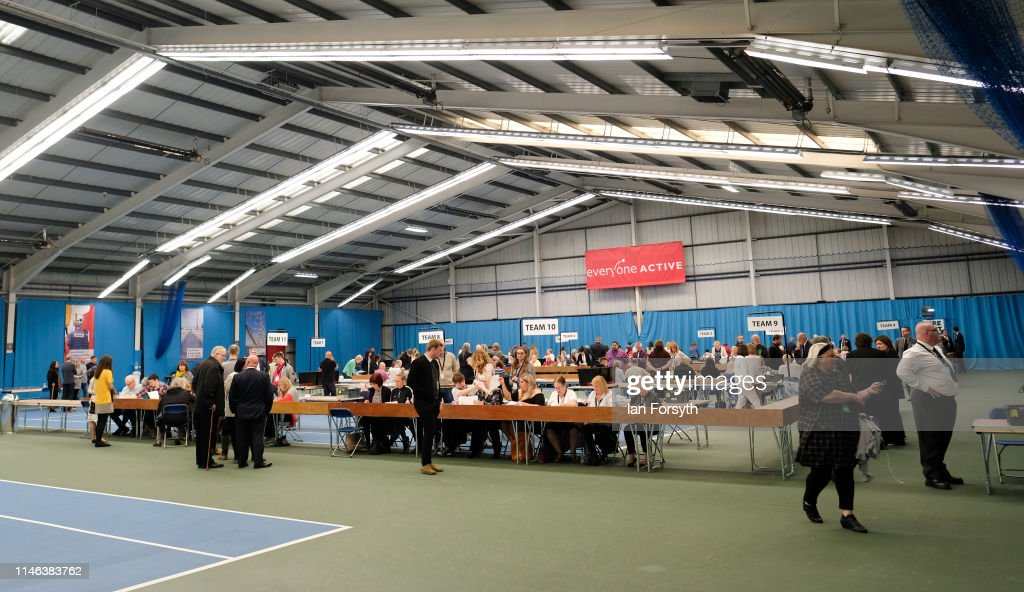GBR: EU Election Workers Count Ballots And Declare Results In Sunderland