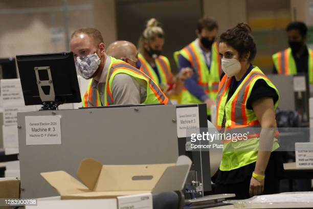 Election workers count ballots on November 04, 2020 in Philadelphia, Pennsylvania. With no winner declared in the presidential election last night,...