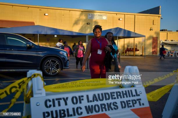 Election workers leave the Broward County Supervisor of Elections headquarters during a shift change of the vote recount for three statewide races on...