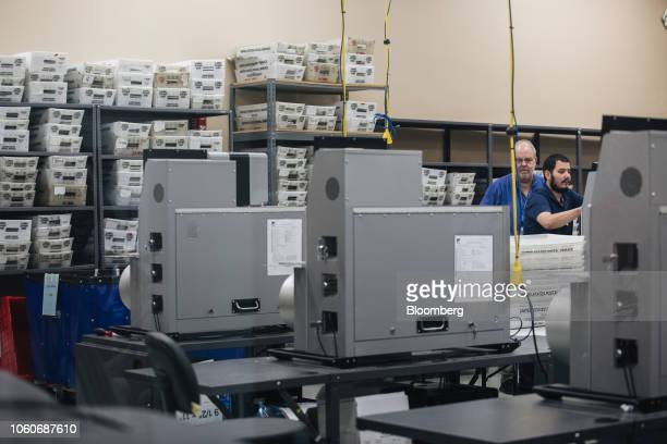 Election workers prepare and test electronic counting machines before scanning ballots during a recount at the Broward County Supervisor of Elections...