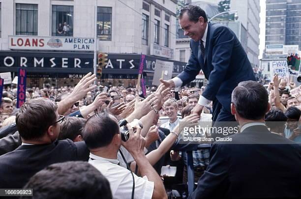 Elections United States Elections présidentielles de 1968 aux EtatsUnis Richard NIXON candidat républicain en campagne Octobre 1968