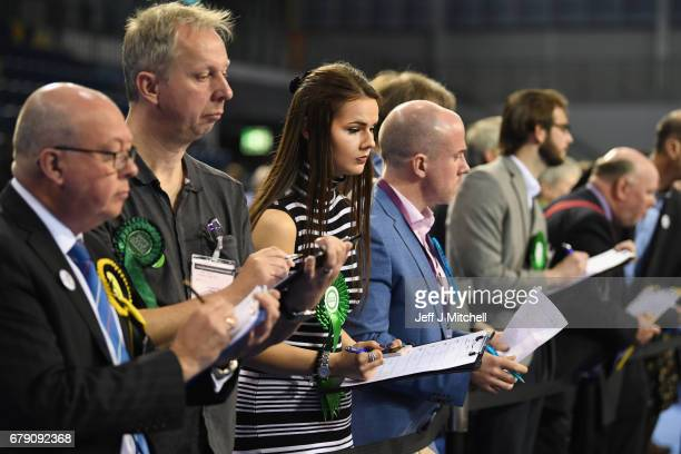 Electoral agents attend the Glasgow Count as counting of votes gets underway in the Scottish Local Government election at the Emirates Arena on May 5...