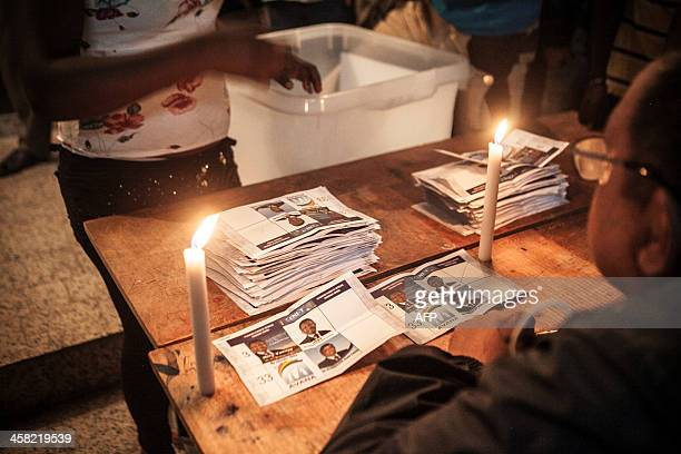 Electoral agents count votes at a polling station in Antananarivo on December 20 as the people of Madagascar elect a new President in a runoff vote...