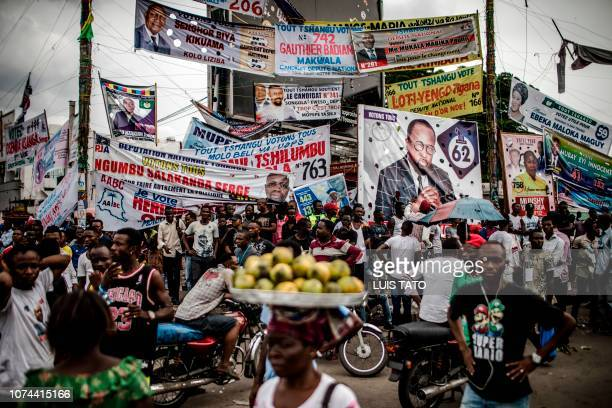 TOPSHOT Electoral banners are displayed in the Ndjili district of Kinshasa on December 19 after campaigning for Democratic Republic of Congo's...