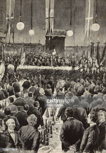Electoral banquet of monarchic associations in the Teatro Lirico in Milan Italy engraving from a photograph by Guigoni and Bossi from L'Illustrazione...