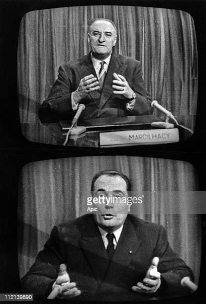 Electoral campaign for presidential elections on november 21 Pierre Marcilhacy and Francois Mitterrand