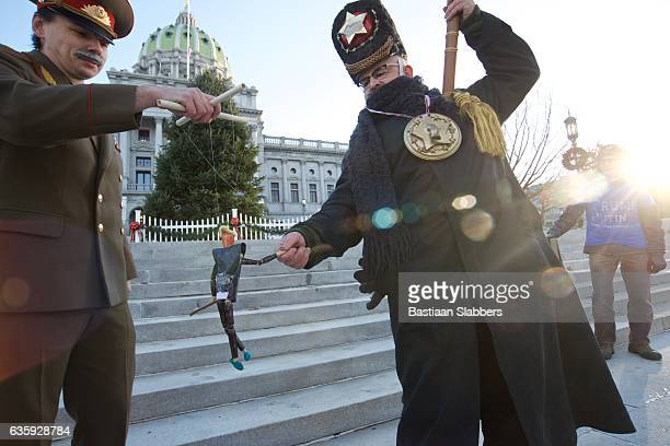 electoral college vote protest at state capitol, in harrisburg, pa - basslabbers, bastiaan slabbers stock pictures, royalty-free photos & images