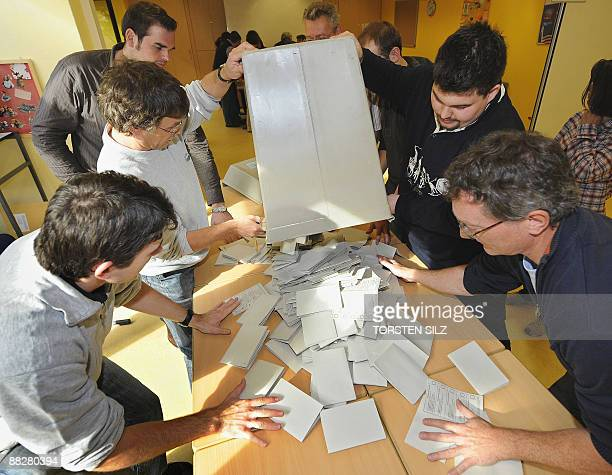 Electoral helpers count votes of the European Elections on June 7 2009 in in Mainz western Germany German Chancellor Angela Merkel's conservatives...