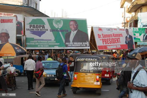 Electoral posters of the of the two presidential candidates Julius Maada Bio and Samura Kamara who will face off during the March 27 second round of...