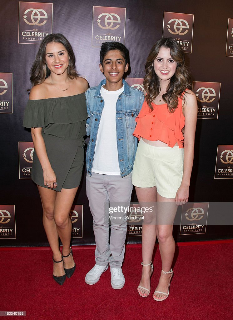 Electra Formosa and actors Karan Brar and Laura Marano attend The Celebrity Experience panel at Universal Hilton Hotel on July 12, 2015 in Universal City, California.