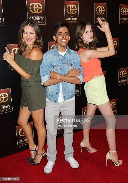 Electra Formosa Karan Brar and Laura Marano attends 'The Celebrity Experience' panel at The Universal Hilton Hotel on July 12 2015 in Universal City...